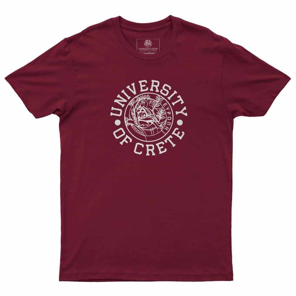 Mens University of Crete Round Logo Tee Burgundyb (1024x1024)