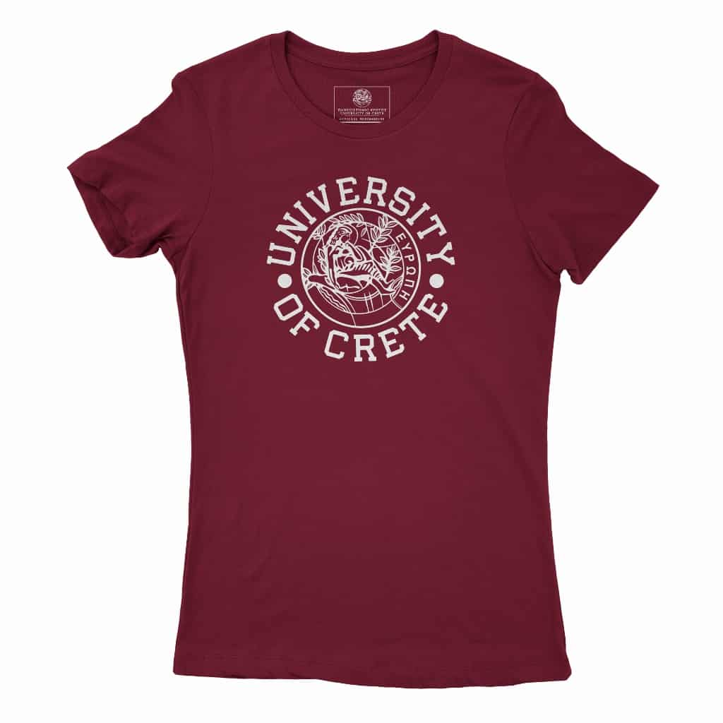 Womens University of Crete Round Logo Tee Burgundyb (1024x1024)