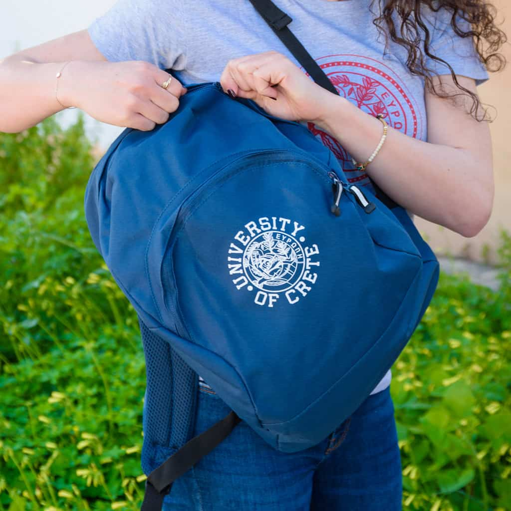 Sport Backpack University of Crete Logo Blue photo