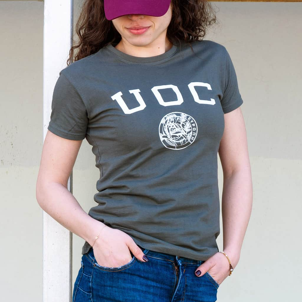 Womens UOC Crest Tee Charcoal photo model FRONT2
